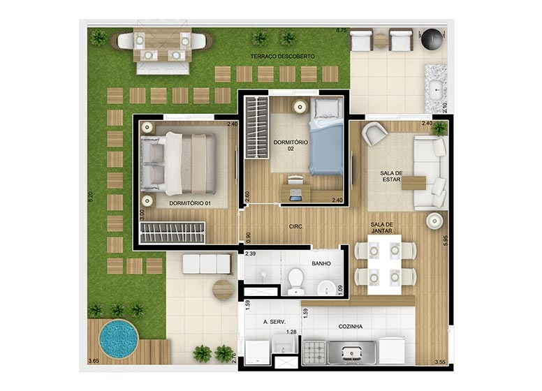 Giardino 2 dorms - 77,22m² - perspectiva ilustrada - Fatto Family Club