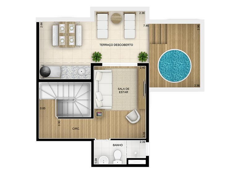 Duplex Superior 2 dorms - 84,03m² - perspectiva ilustrada - Fatto Family Club