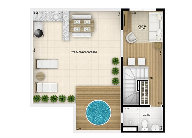 Duplex Superior 3 dorms c/suíte - 115,43m² - perspectiva ilustrada - Fatto Family Club