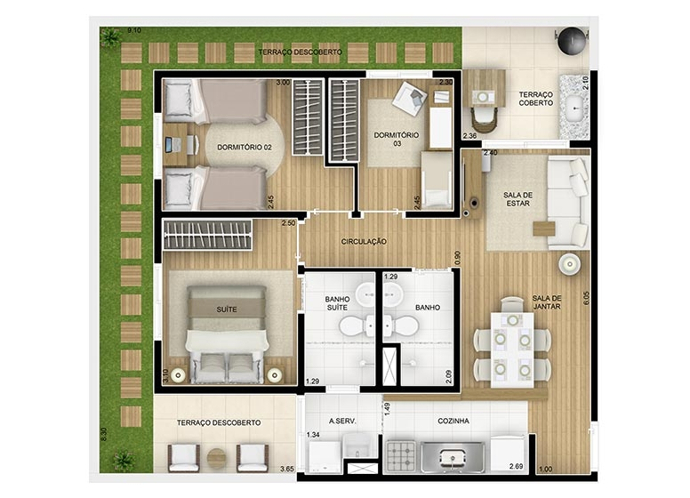 Giardino 3 dorms c/suíte - 81,28m² - perspectiva ilustrada