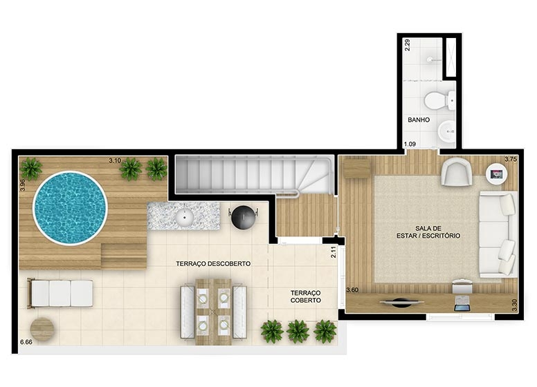 Duplex Superior 2 dorms - 91,58m² - perspectiva ilustrada - Fatto Family Club