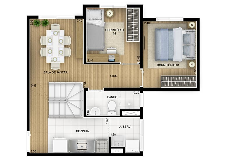 Duplex Inferior  2 dorms - 84,03m² - perspectiva ilustrada - Fatto Family Club