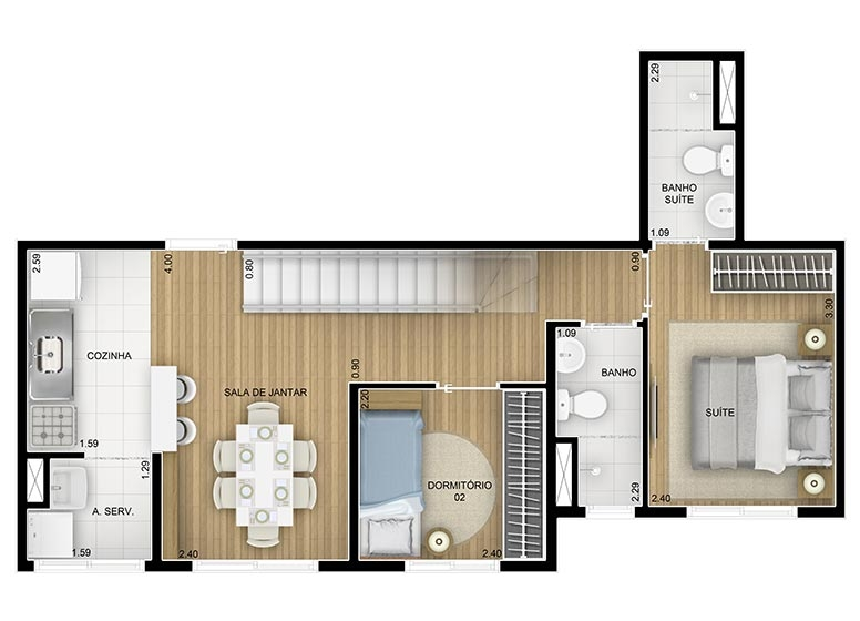 Duplex Inferior 2 dorms - 91,58m² - perspectiva ilustrada - Fatto Family Club