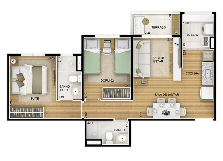 2 dorms. com suíte -  52,46m² - perspectiva ilustrada