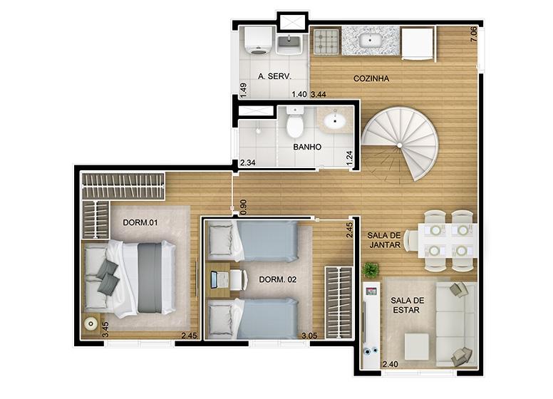 Duplex Inferior 2 dorms. - 95m² - perspectiva ilustrada