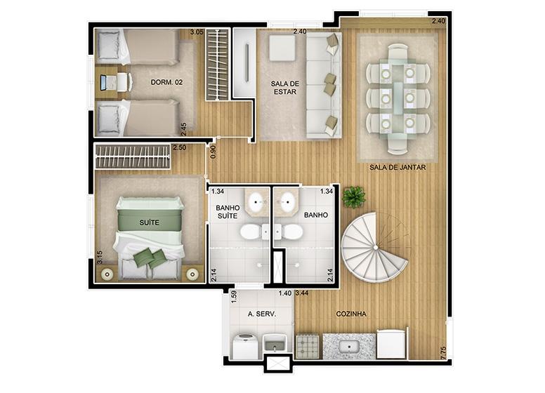 Duplex Inferior 3 dorms. sala ampliada - 116,55m² - perspectiva ilustrada