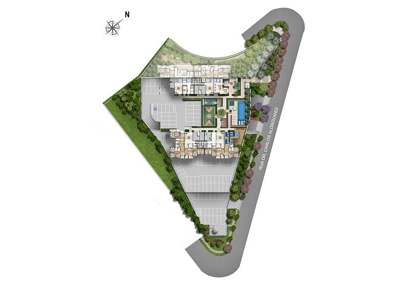 Implantação - perspectiva ilustrada - Fatto Novo Panamby