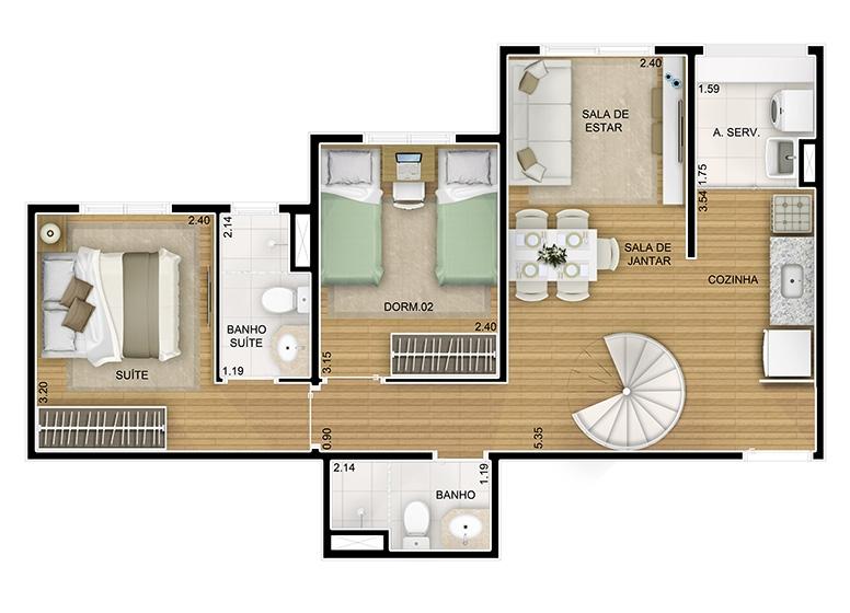 Duplex Inferior 2 dorms. com suíte - 87m² - perspectiva ilustrada - Fatto Novo Panamby