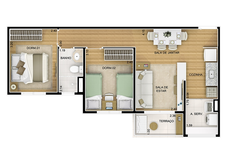 2 dorms. -  49,48m² - perspectiva ilustrada - Fatto Novo Panamby