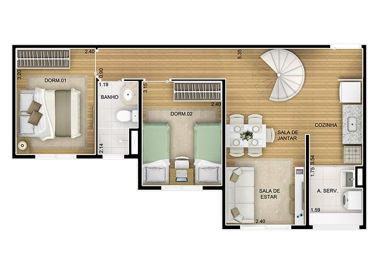 Duplex Inferior 2 dorms. -  84m² - perspectiva ilustrada - Fatto Novo Panamby