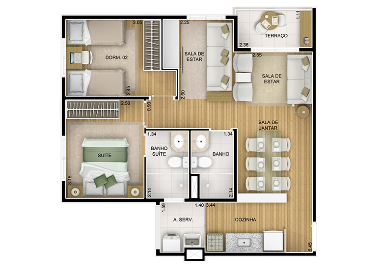 3 dorms. Sala ampliada -  59,04m²  - perspectiva ilustrada