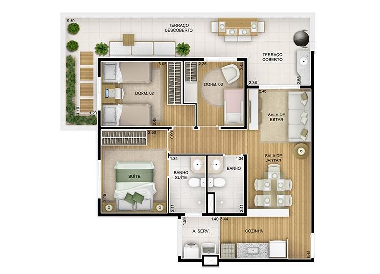 3 dorms. -  78,59m² - perspectiva ilustrada - Fatto Novo Panamby