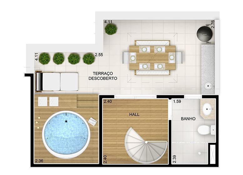 Duplex Superior 2 dorms. com suíte - 87m² - - perspectiva ilustrada