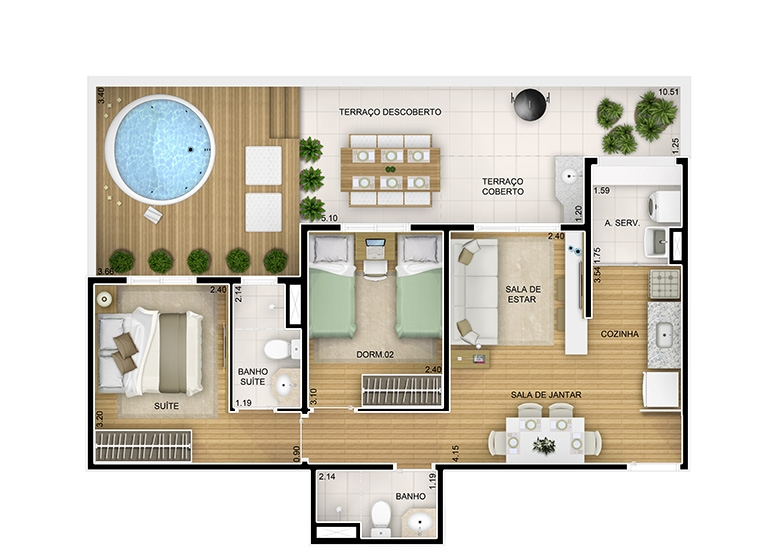 2 dorms. Giardino  - 79,25m² - perspectiva ilustrada