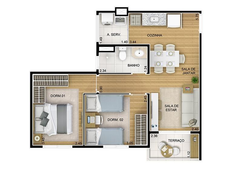 2 dorms. 48,25m² - perspectiva ilustrada