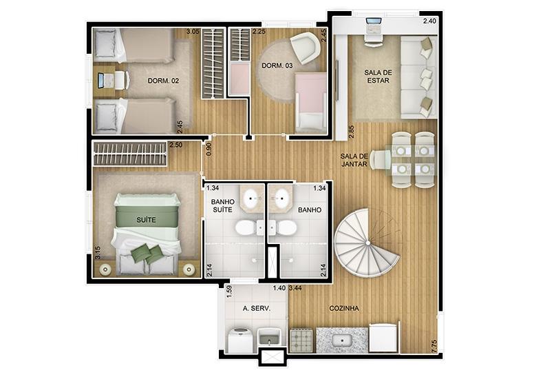 Duplex Inferior 3 dorms - 116,55m² - perspectiva ilustrada