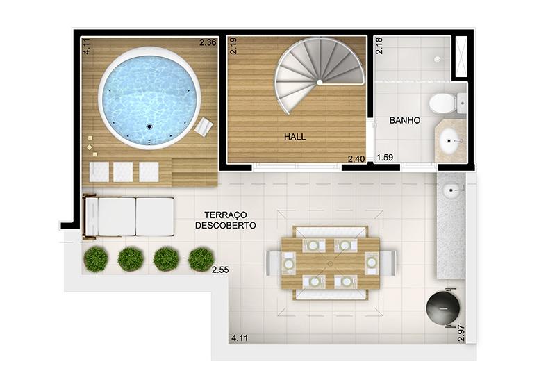 Duplex Superior 2 dorms. - 84m² - perspectiva ilustrada