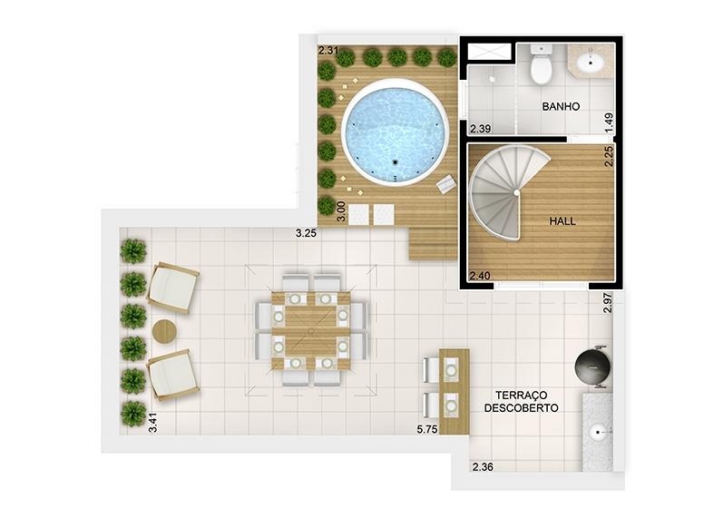 Duplex Superior 2 dorms. - 95m² - perspectiva ilustrada