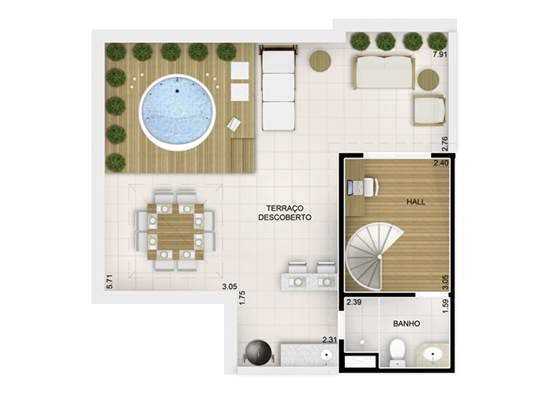 Duplex Superior 3 dorms - 116,55m² - perspectiva ilustrada