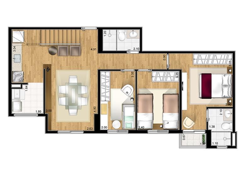 Duplex inferior opção 2 - perspectiva ilustrada