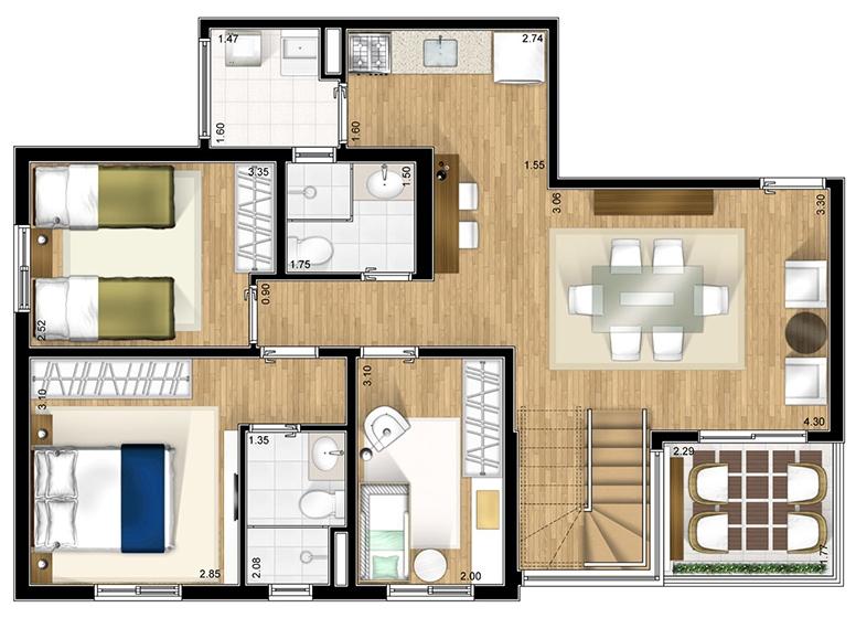 Duplex inferior opção 1 - perspectiva ilustrada - Fatto Alphaville
