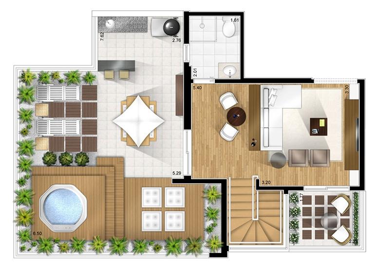 Duplex superior opção 1 - perspectiva ilustrada