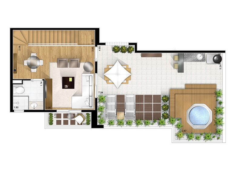 Duplex superior opção 2 - perspectiva ilustrada