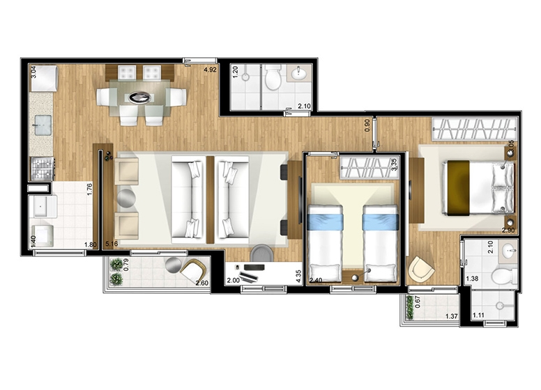 Apto opção 2 sala ampliada - perspectiva ilustrada