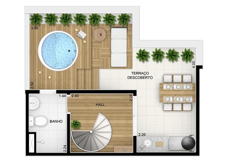 Duplex Superior 2 dorms. c/suíte - 83,32m² - perspectiva ilustrada
