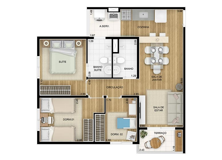 3 Dorms c/ suíte. 58,45m²  - perspectiva ilustrada