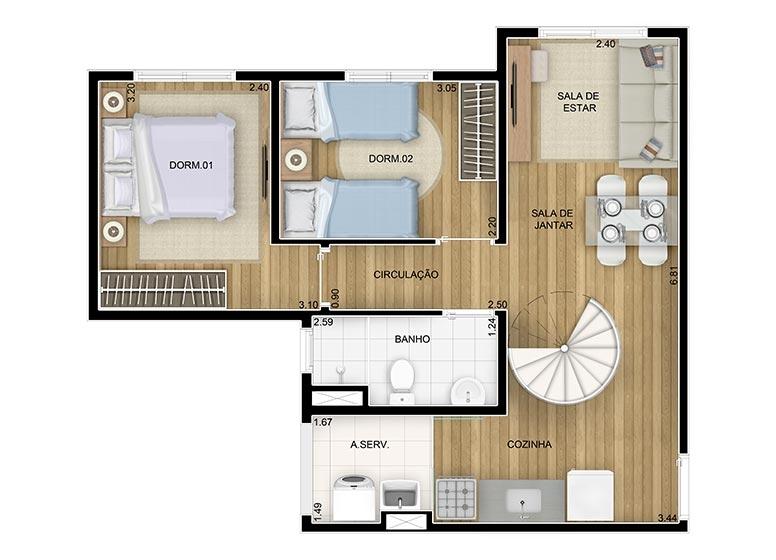 Duplex Inferior 2 dorms.- 92,25m² - perspectiva ilustrada