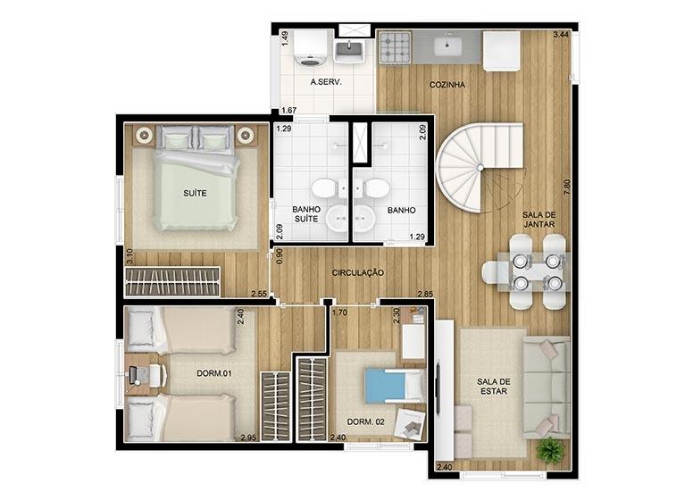 Duplex Inferior 3 dorms. c/suite - 115,45m² perspectiva ilustrada - Fatto Move
