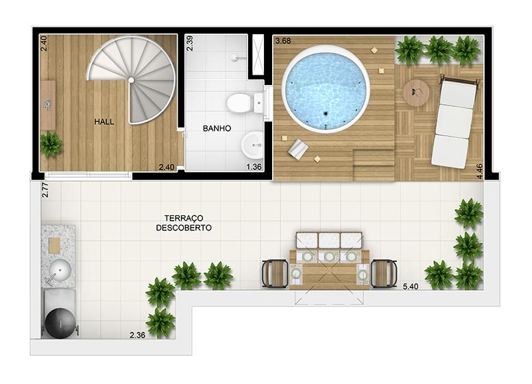 Duplex Superior 2 dorms.- 85,84m² - perspectiva ilustrada