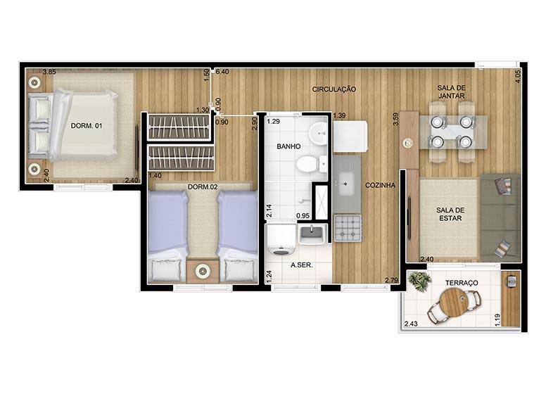 2 Dorms. 47,75m² - perspectiva ilustrada
