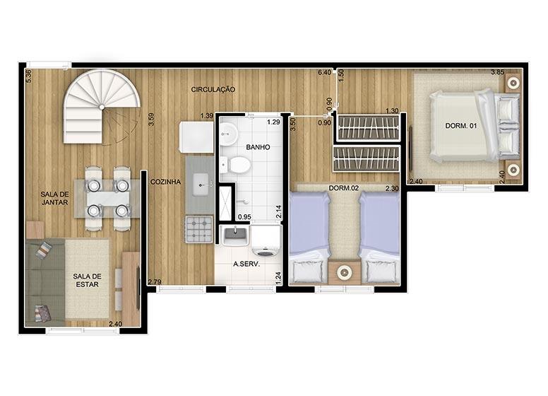 Duplex Inferior2 dorms.- 85,84m² - perspectiva ilustrada