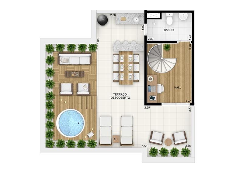 Duplex Superior 3 dorms. c/suite - 115,45m² perspectiva ilustrada