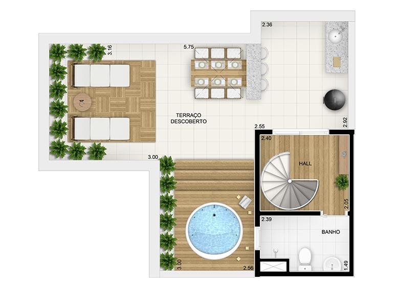 Duplex Superior 2 dorms.- 92,25m² - perspectiva ilustrada
