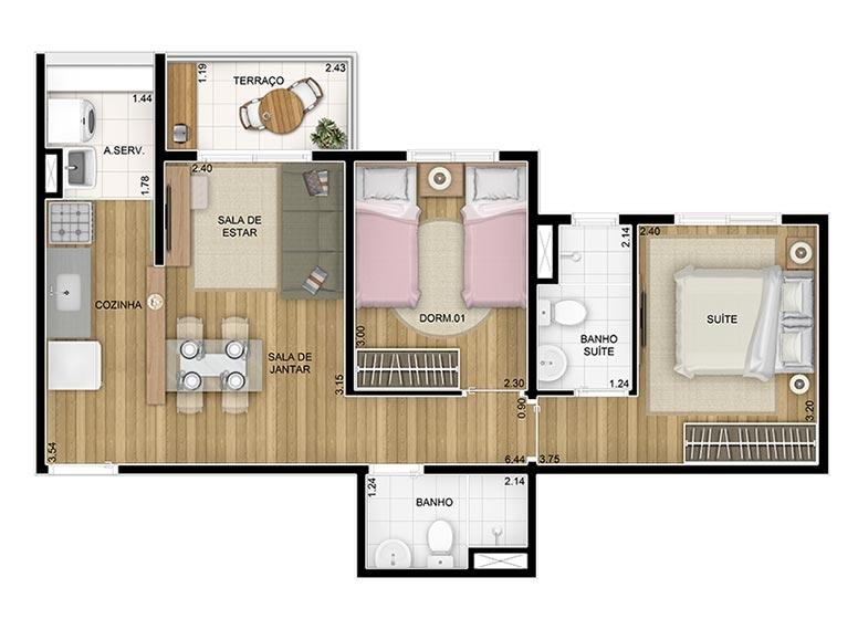 2 Dorms c/suíte 51,28m² - perspectiva ilustrada