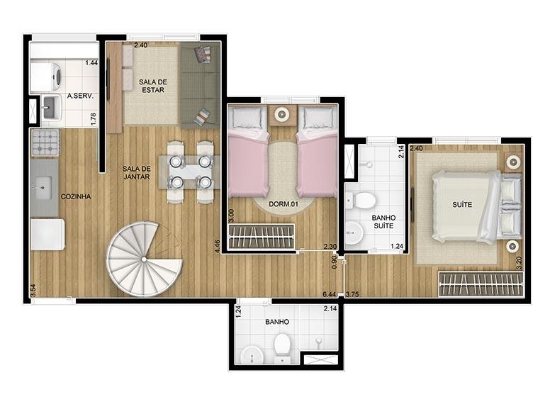 Duplex Inferior 2 dorms. c/suíte - 83,32m² - perspectiva ilustrada