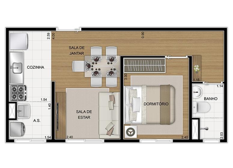 Planta Térreo 1 dorm 34,80m², final 8 - perspectiva ilustrada - Vila Arbori Aromas