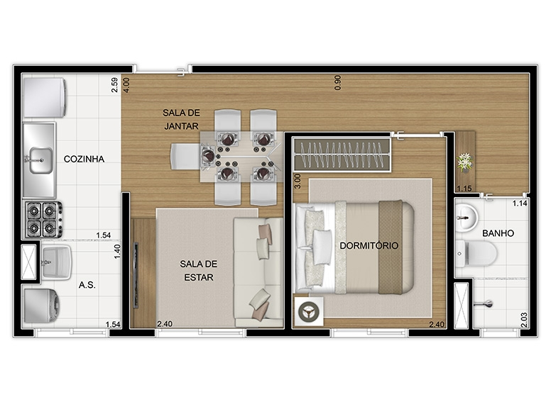 Planta Térreo 1 dorm 34,80m², final 8 - perspectiva ilustrada