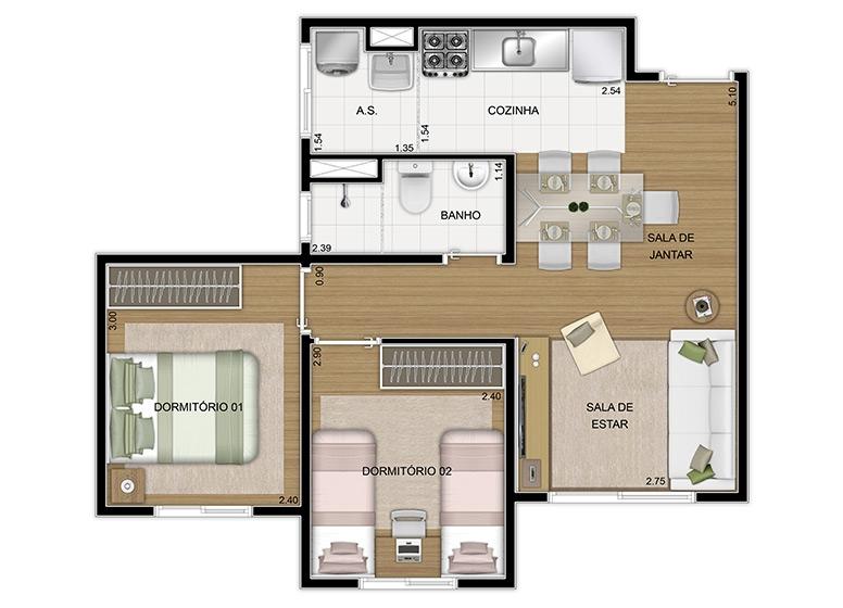 Planta 2 dorms 43,86m², finais 3 e 7 - perspectiva ilustrada - Vila Arbori Aromas