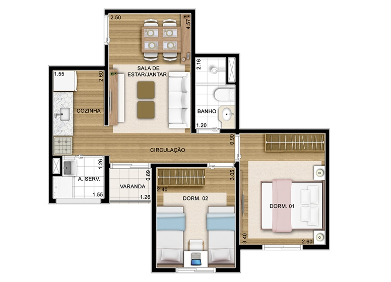 2 Dorms - 45m² - perspectiva ilustrada