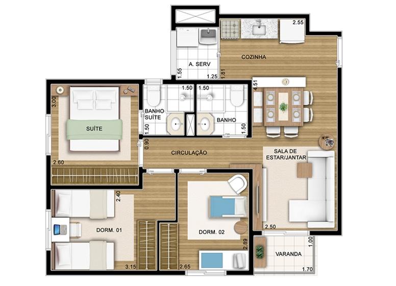 3 Dorms - 60m² - perspectiva ilustrada