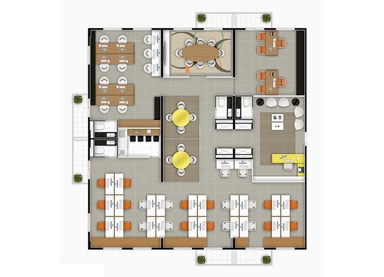 sugestão Agência de Publicidade com Junção de 6 Salas - perspectiva ilustrada - Time Center Campinas