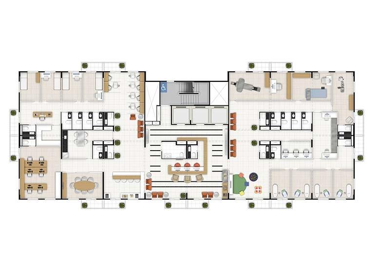 Sugestão Laboratório de análise clinica_junção andar inteiro - perspectiva ilustrada - Time Center Campinas