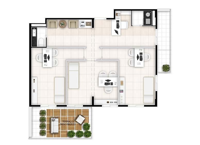 Sugestão Dermatologia_giardino 2 sala (Torre Alpha _ junção finais 02 e 03) - perspectiva ilustrada