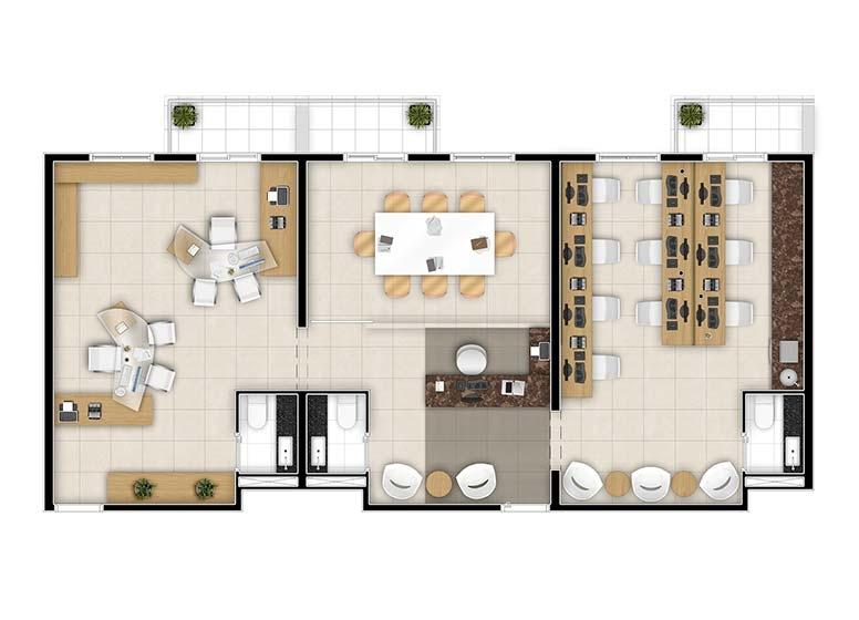 Sugestão Consultores com Junção de 3 Salas - perspectiva ilustrada - Time Center Campinas