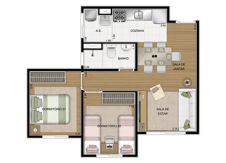 Planta 2 dorms 43,86m², finais 3 e 7 - perspectiva ilustrada - Vila Arbori Cores