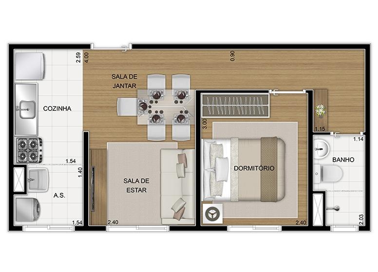 Planta Térreo 1 dorm 34,80m², final 8 - perspectiva ilustrada - Vila Arbori Cores
